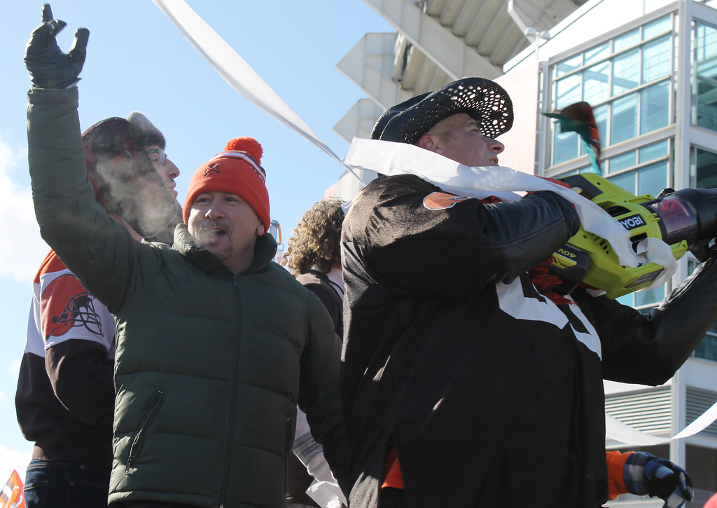 . Kailee Leonard - The News-Herald <br> Cleveland Browns fans march in the Browns Perfect Season Parade 2.0 Saturday January 6, 2018.
