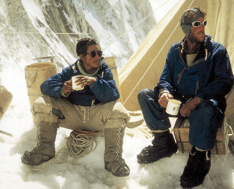 . Explorers Sardar Tenzing Norgay of Nepal, left, and Sir Edmund Hillary of New Zealand who conquered Mount Everest in 1953, are shown in this 1953 handout photo. May 29, 2013, marked the 60th anniversary of Hillary\'s and Norgay\'s conquest of the highest mountain on earth.  (AP Photo/NZPA,Penguin Books)