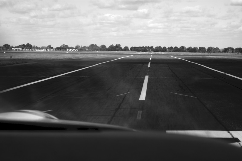 Our landing, nicely on the centreline.
