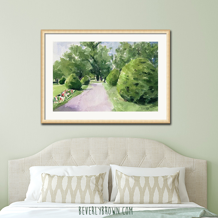 Light Sage Green Feminine Master Bedroom with Classic Gold Framed Garden Artwork