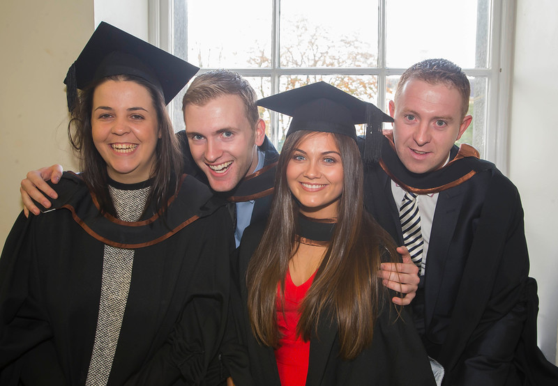 28/10/2015. Waterford Institute of Technology Conferring. Pictured are Clodagh Ryan, Waterford, Evan Ryan, Carrick on Suir, Sarah Sbano, Killarney and Paul Browne, Kilkenny  who graduated Bachelor of Law (Hons). Picture: Patrick Browne