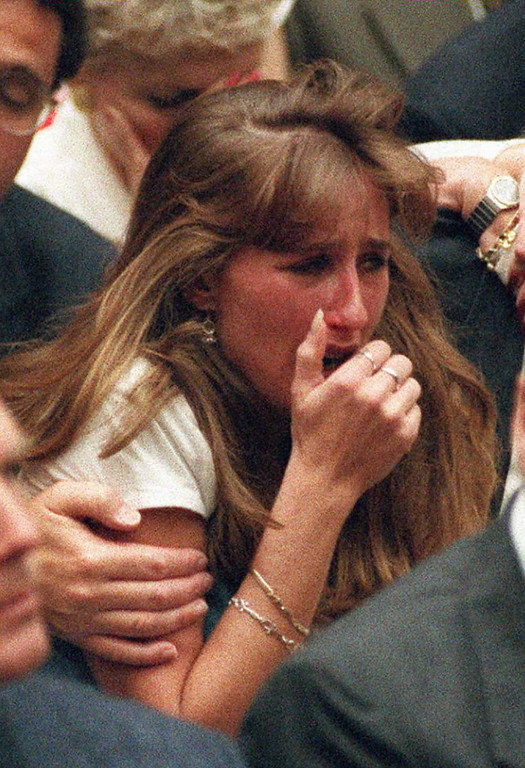 . Kim Goldman, the sister of murder victim Ron Goldman, cries after the not guilty verdicts were read in the O.J. Simpson murder trial 03 October in Los Angeles, California.      (POO/AFP/Getty Images)