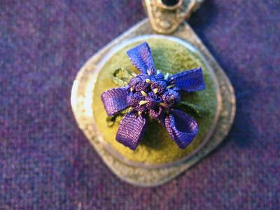 Velvet and silk ribbon pendant
