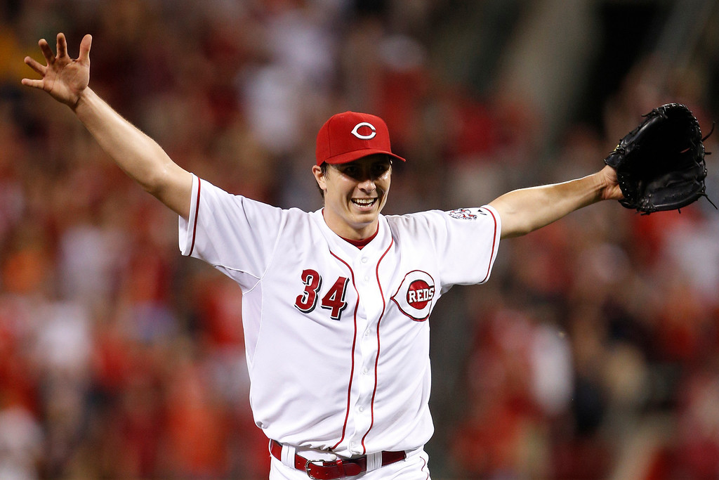 . Homer Bailey #34 of the Cincinnati Reds celebrates after throwing a no-hitter against the San Francisco Giants at Great American Ball Park on July 2, 2013 in Cincinnati, Ohio. The Reds won 3-0. (Photo by Joe Robbins/Getty Images)