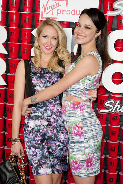 WESTWOOD, CA - FEBRUARY 21: Actresses Anna Camp and Alexis Knapp attend Relativity Media's '21 and Over' premiere at Westwood Village Theatre on Thursday, February 21, 2013 in Westwood, California. (Photo by Tom Sorensen/Moovieboy Pictures)