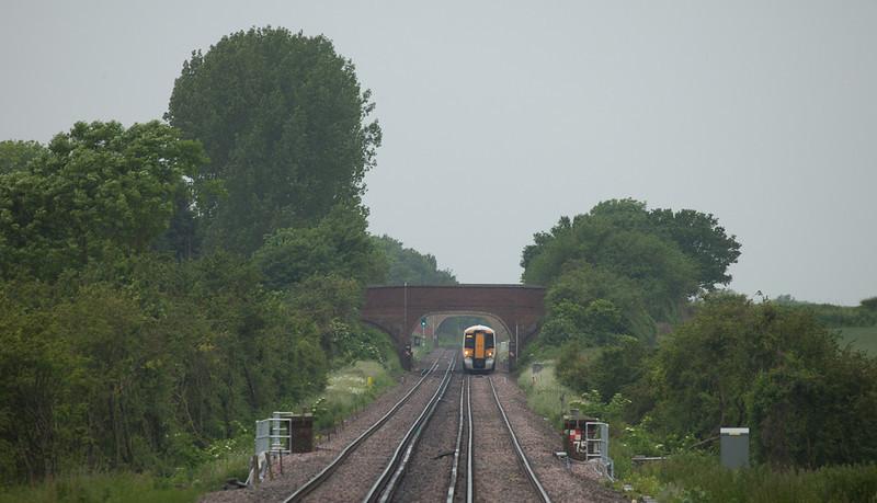 Southeastern Trains 375 622 approaching Charing, Kent.