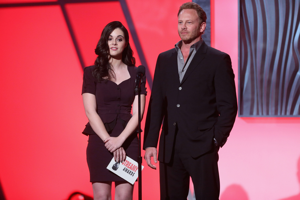 Description of . Presenters Vanessa Marano and Ian Ziering speak onstage at the 3rd Annual Streamy Awards at Hollywood Palladium on February 17, 2013 in Hollywood, California.  (Photo by Frederick M. Brown/Getty Images)