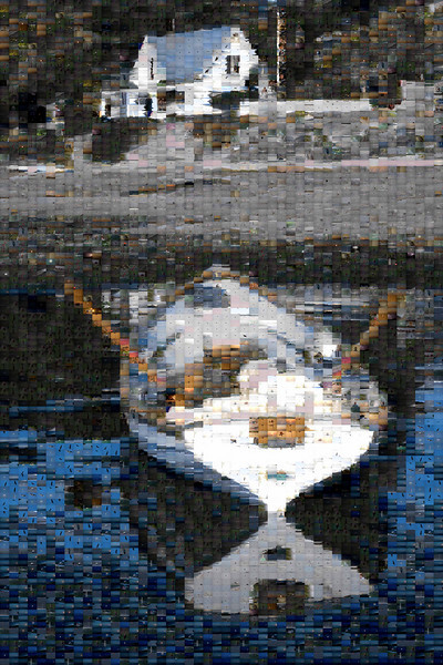 """""""Land Ho Mosaic"""" is a 36x54"""" photo mosaic on canvas. The top level image is made up of over 5000 1/2"""" x 3/4"""" sub images. The scene is of someone relaxing in a rowing boat off the Eastsound waterfront. 99% of the sub images are scenes of Orcas life. The image construction is assisted by a piece of software which identifies the best match for each sub image from a library of (in this case) over 30,000 images."""