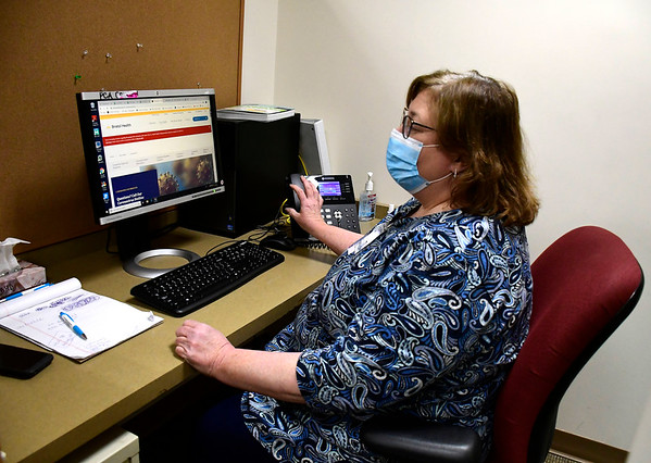 4/15/2020 Mike Orazzi | Staff Bristol Burlington Health District Nurse Marguerite Adamski inside of the Bristol Health Coronavirus Hot Line call center inside of Bristol Hospital on Wednesday.