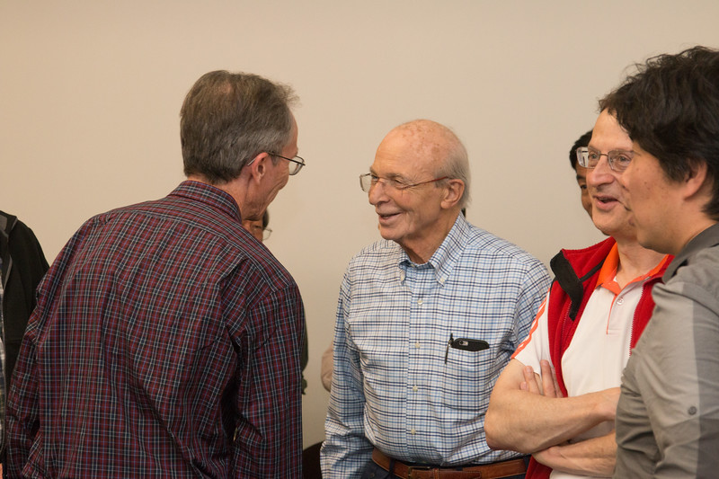 Peter with Frank Marshall (at left), with Mike Loewenstein and Kenji Hamaguchi -- Retirement party for Peter Serlemitsos from NASA/GSFC after 55 years. -- April 27, 2017 -- NASA/Goddard Space Flight Center, Greenbelt, MD