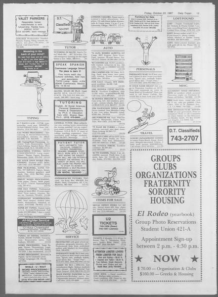 Daily Trojan, Vol. 105, No. 36, October 23, 1987