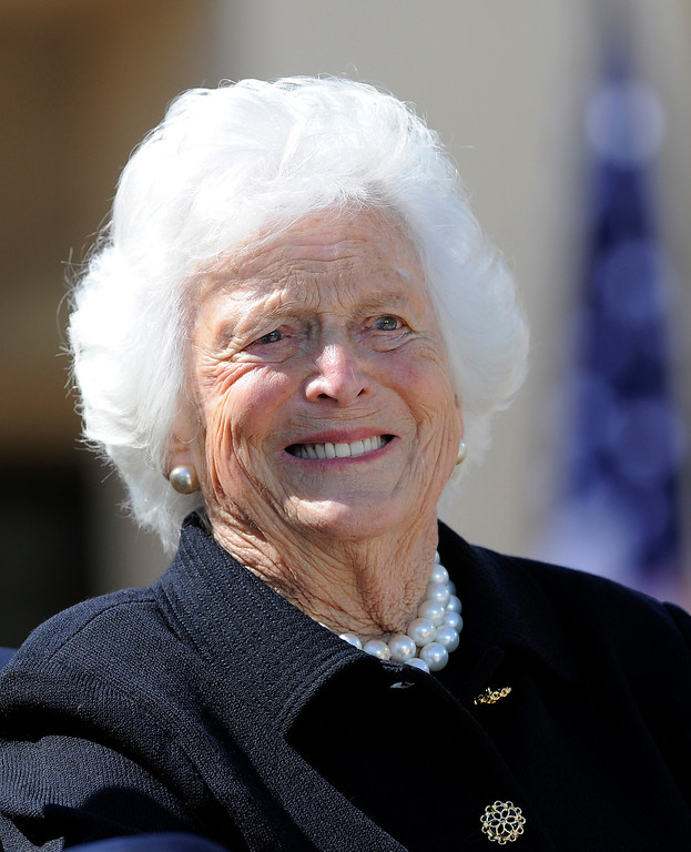 . Former US First Lady Barbara Bush smiles during the George W. Bush Presidential Center dedication ceremony in Dallas, Texas, on April 25, 2013.        (JEWEL SAMAD/AFP/Getty Images)
