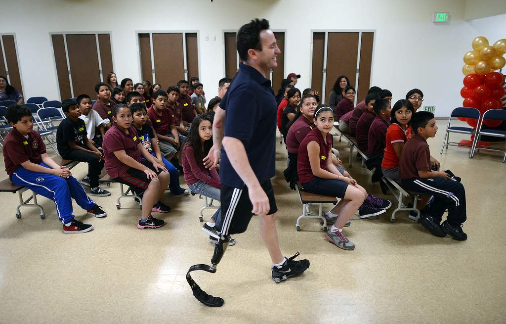 . Paralympian John Siciliano gets ready to speak to students at Korenstein Elementary School as part of  Ready, Set, Gold, a public-private partnership with the Southern California Committee for the Olympic Games that is designed to motivate children to set and reach their goals, primarily in health and fitness to help combat childhood obesity and diabetes. (Hans Gutknecht/Staff Photographer)