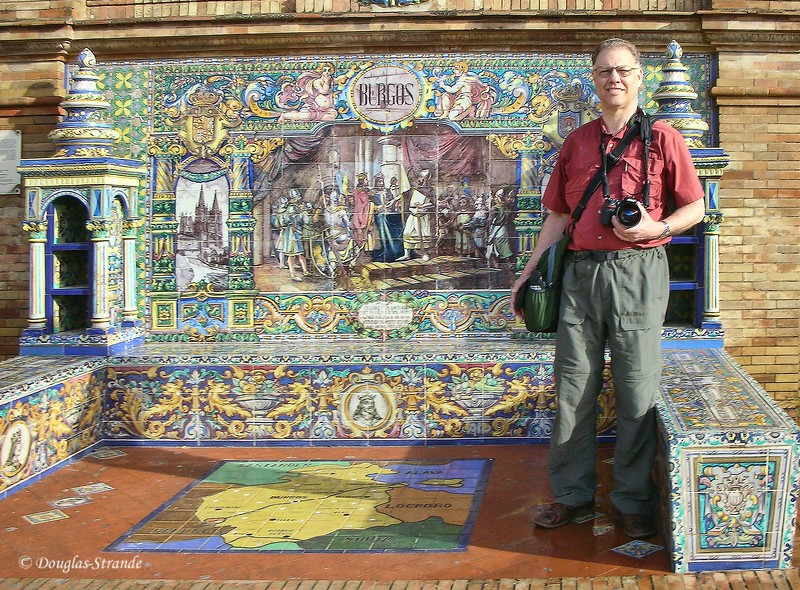 Tue 3/15 in Seville: Doug with some fine tile-work