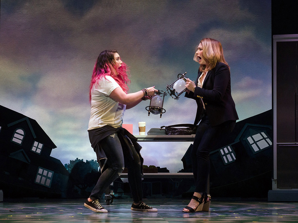 ". Emma Hunton, left, as Ellie, and Heidi, Blickenstaff, as Katherine, perform in �Freaky Friday.� The show is presented by the Cleveland Play House and runs through May 20 at the Allen Theatre at Playhouse Square in Cleveland. For more information, visit <a href=""http://www.clevelandplayhouse.com/\"">clevelandplayhouse.com</a>.  (Jim Carmody)"