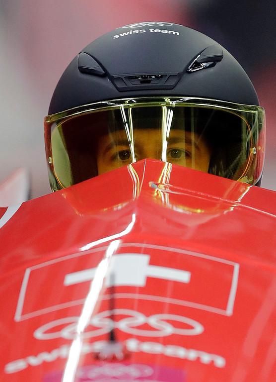 . Driver Sabina Hafner and Rahel Rebsamen of Switzerland start their third heat during the women\'s two-man bobsled final at the 2018 Winter Olympics in Pyeongchang, South Korea, Wednesday, Feb. 21, 2018. (AP Photo/Wong Maye-E)