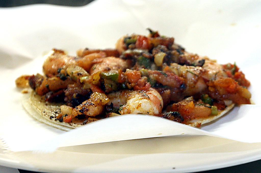 . Prawn taco at Taqueria os Pericos. (Dan Coyro -- Santa Cruz Sentinel)