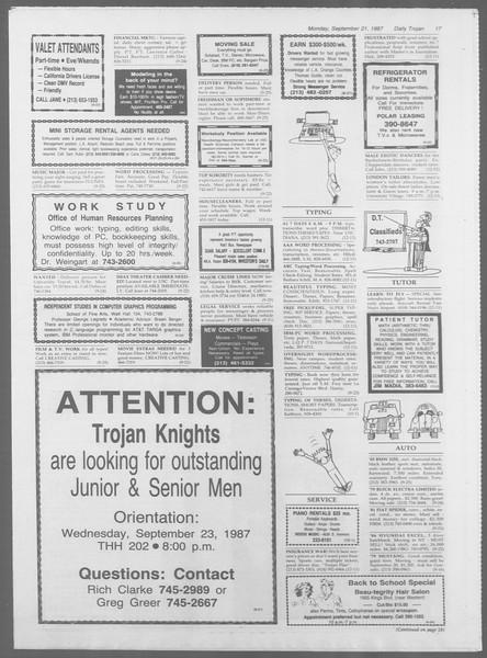 Daily Trojan, Vol. 105, No. 13, September 21, 1987