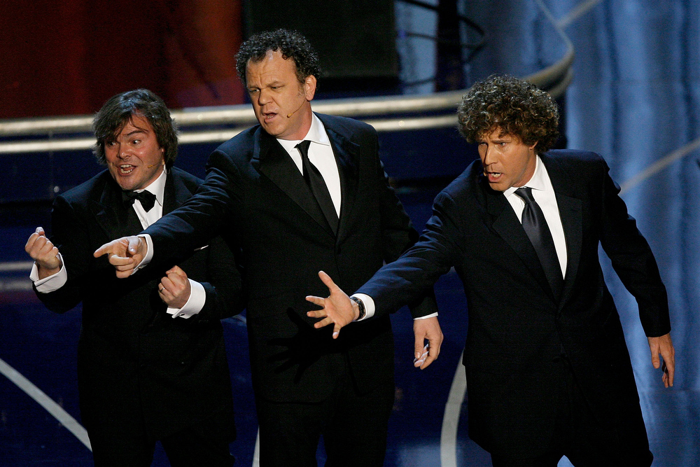 . Actors Jack Black, John C. Reilly, and Will Ferrell perform during the 79th Annual Academy Awards at the Kodak Theatre on February 25, 2007 in Hollywood, California.  (Photo by Kevin Winter/Getty Images)