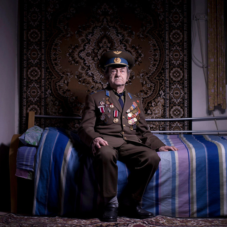. Soviet Jewish World War veteran Aharon Kavishaner poses for a portrait at his house in the southern Israeli city of Ashkelon. Kavishaner joined the Red Army in 1942, as an air force mechanic and served in the 4th Ukrainian Front, a Soviet army group. Kavishaner immigrated to Israel in 1991. About 500,000 Soviet Jews served in the Red Army during World War Two, and the majority of those still alive today live in Israel.   (AP Photo/Oded Balilty)