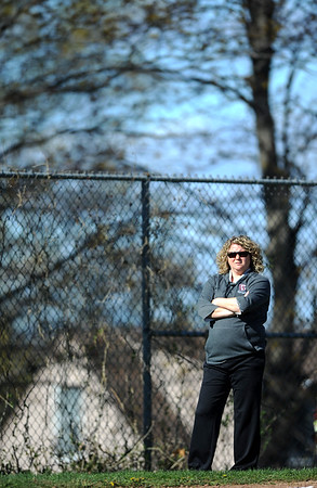 4/24/2019 Mike Orazzi | Staff Bristol Central Softball Coach Monica Hayes during Wednesday's softball with Simsbury in Bristol.