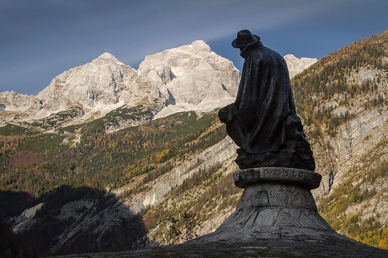 Julius Kugy monument in Trenta