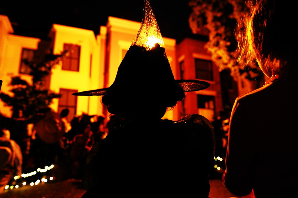 . Trick-or-treaters celebrate Halloween at a neighbourhood party in Washington, DC, on October 31, 2013. Halloween, an ancient Celtic pagan rite which is celebrated October 31 every year, originally held to celebrate the dead and the end of the harvest season. AFP Photo/Jewel SAMAD/AFP/Getty Images
