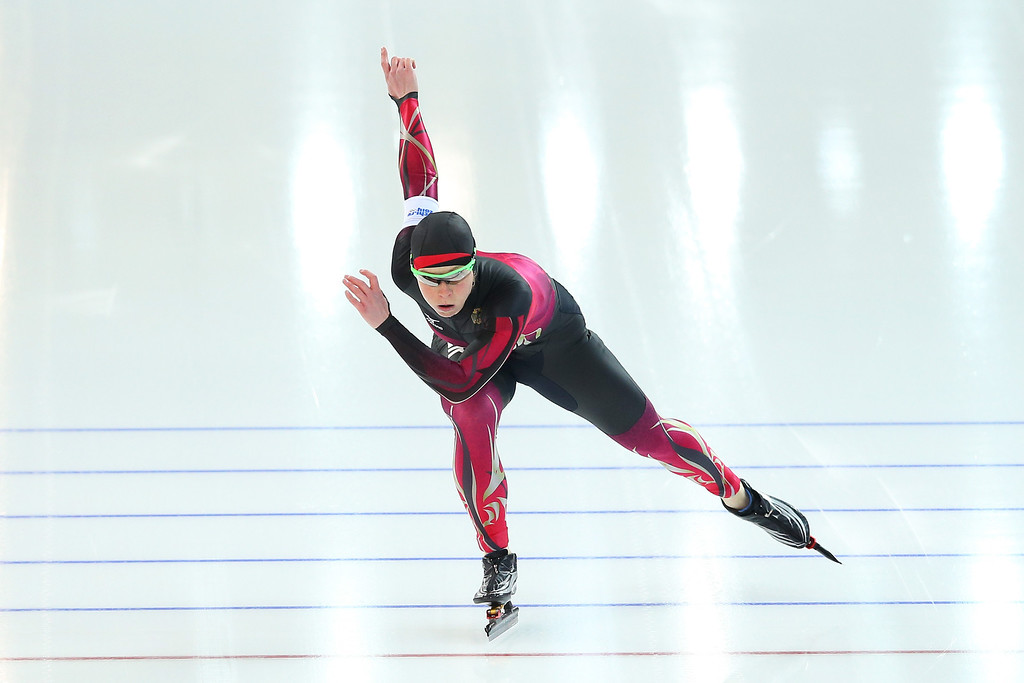. Monique Angermueller of Germany competes during the Women\'s 1000m Speed Skating event on day 6 of the Sochi 2014 Winter Olympics at Adler Arena Skating Center on February 13, 2014 in Sochi, Russia.  (Photo by Quinn Rooney/Getty Images)