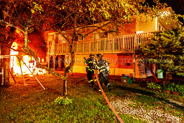 Shed Fire  from a lightning strike -  78 Scott Drive - New Hackensack Fire District - 8/11/2016