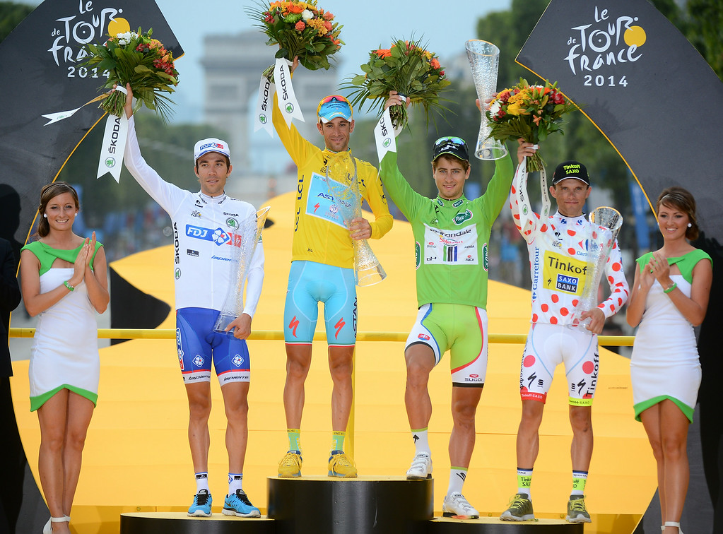 . Vincenzo Nibali of Italy, wearing the overall leader\'s yellow jersey, Peter Sagan of Slovakia, wearing the best sprinter\'s green jersey, Rafal Majka of Poland, wearing the best climber\'s dotted jersey, and Thibaut Pinot of France, wearing the best young rider\'s white jersey, celebrate on the podium of the Tour de France cycling race in Paris, France, Sunday, July 27, 2014.  (AP Photo/Jerome Prevost, Pool)