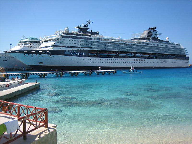 Boat docked in Cozumel
