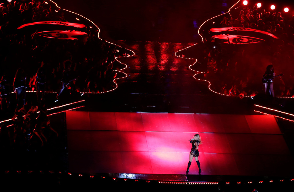 . Beyonce performs during the halftime show of  the NFL Super Bowl XLVII football game between the San Francisco 49ers and the Baltimore Ravens, Sunday, Feb. 3, 2013, in New Orleans. (AP Photo/Charlie Riedel)