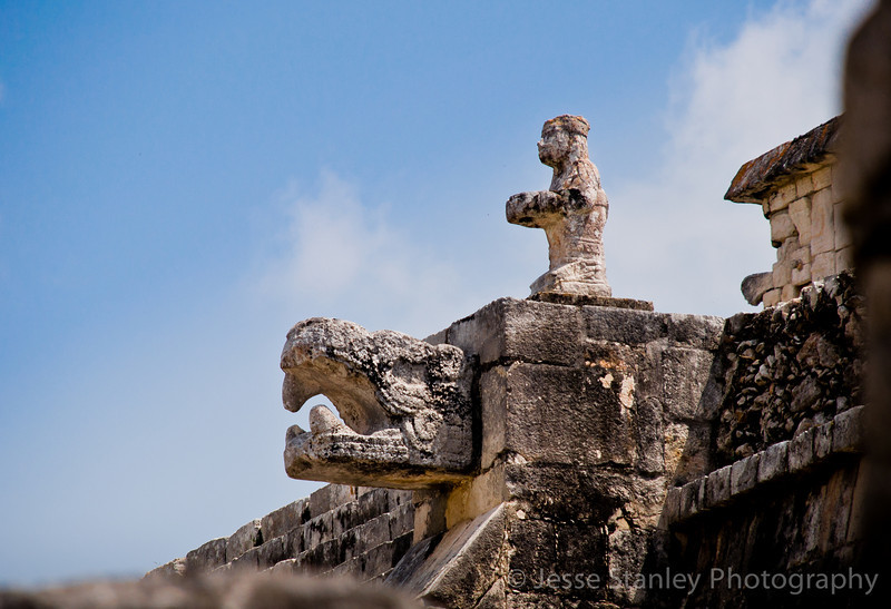 Stautes on top of the Temple of the Warriors, Chichen Itza