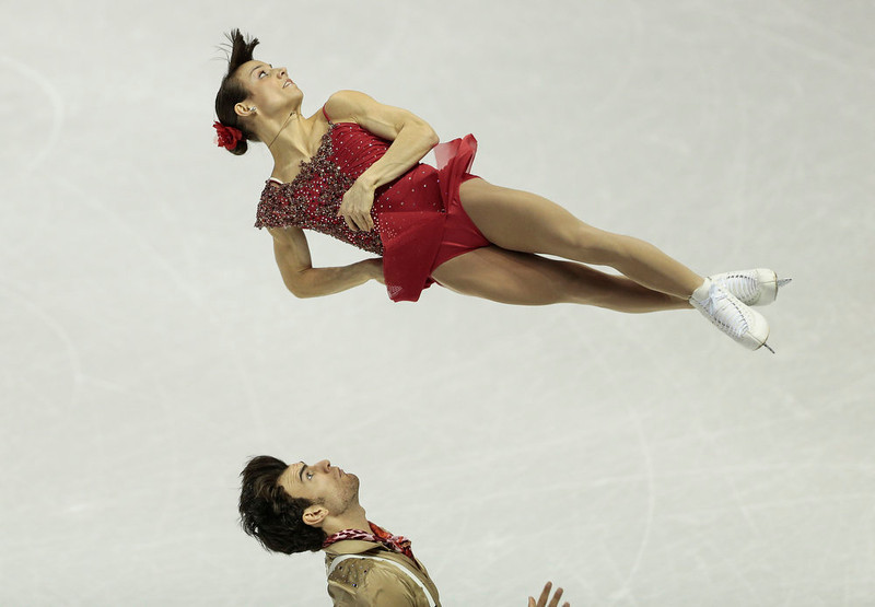 . Meagan Duhamel and Eric Radford of Canada skate their short program in the pairs competition at the 2013 World Figure Skating Championships in London, Ontario on March 13, 2013. GEOFF ROBINS/AFP/Getty Images