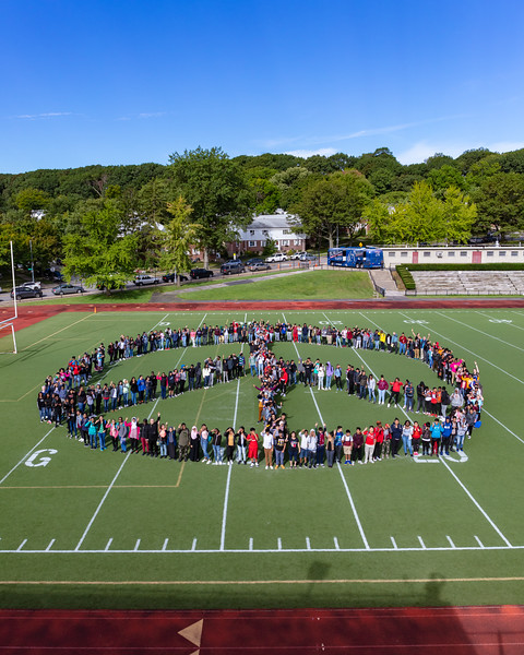 2018_09_27, Bus, Exterior, Human Peace Sign, Martin Van Buren High School, NY, Peace Sign, Queens Village