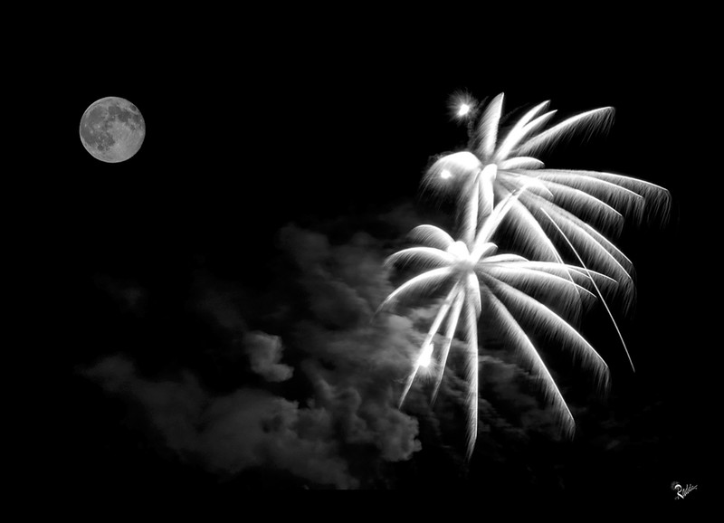Fireworks in the moonlight