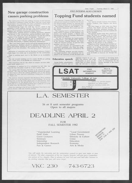 Daily Trojan, Vol. 91, No. 38, March 09, 1982