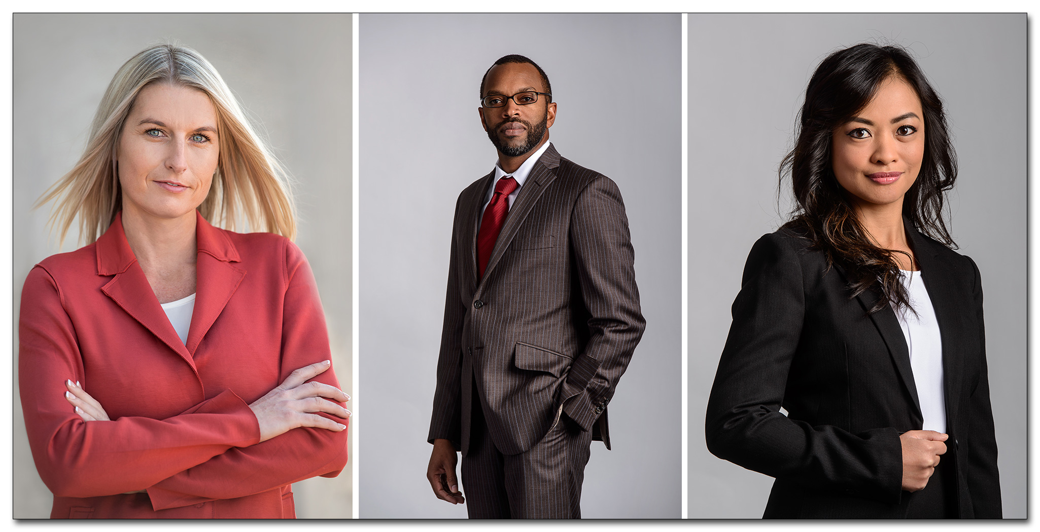 three business headshots