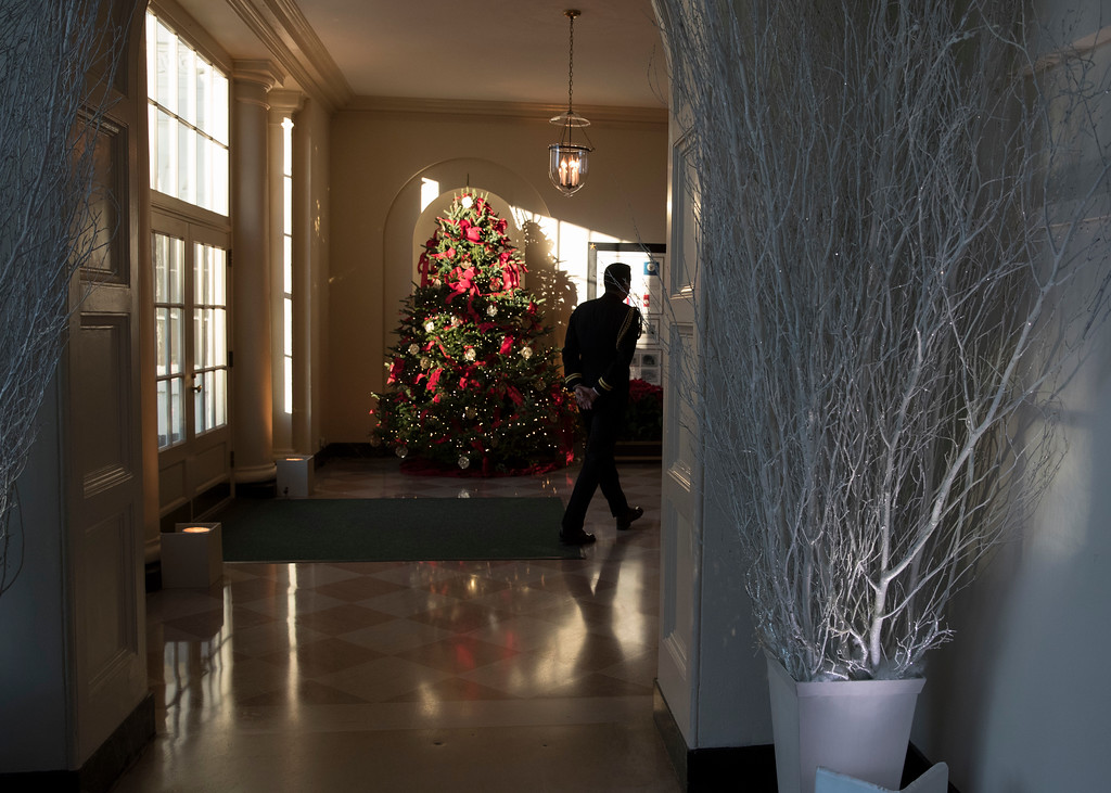 . The Christmas tree is seen in the East Gardner room during a media preview of the 2017 holiday decorations at the White House in Washington, Monday, Nov. 27, 2017. (AP Photo/Carolyn Kaster)