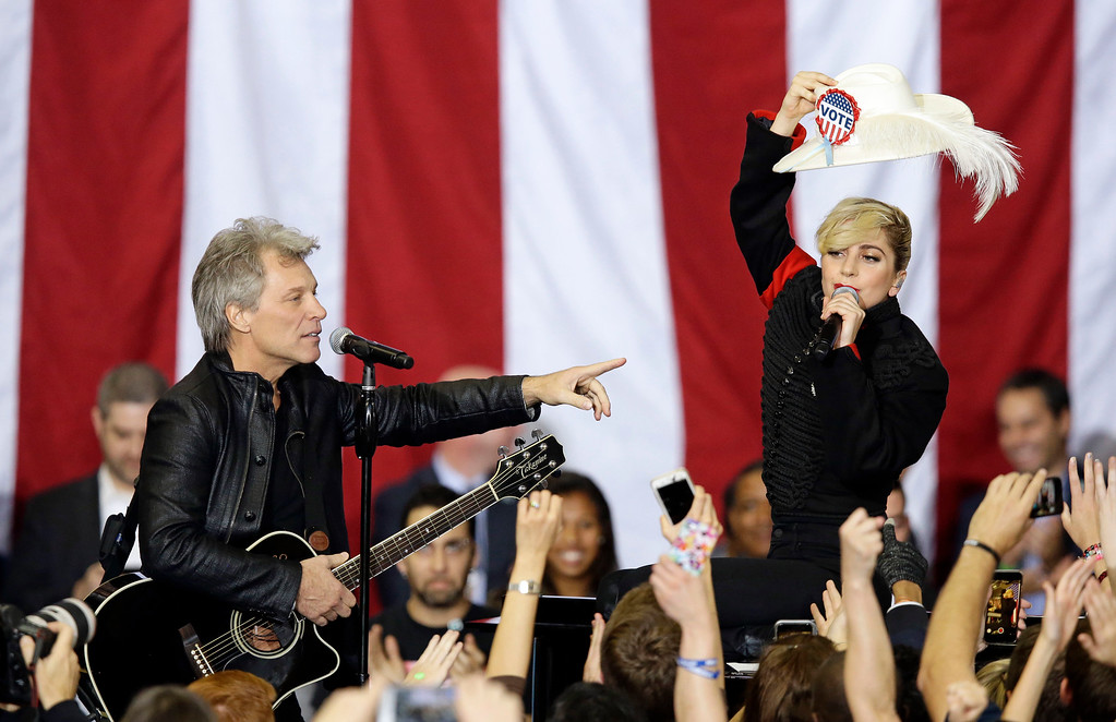 . Jon Bon Jovi and Lady Gaga perform during a campaign rally for Democratic presidential candidate Hillary Clinton in Raleigh, N.C., Tuesday, Nov. 8, 2016. (AP Photo/Gerry Broome)