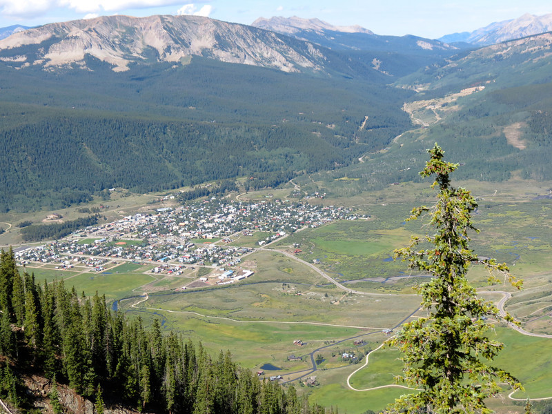 Looking down on the town of Crested Butte from the chair lift.