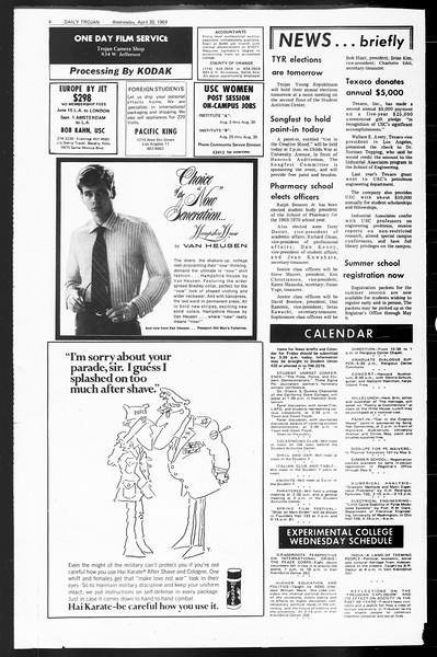 Daily Trojan, Vol. 60, No. 113, April 30, 1969