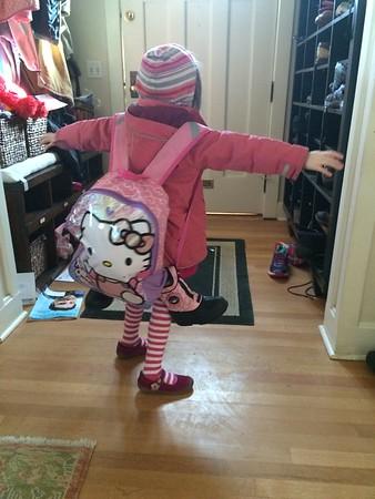 Kiersten ready for a camping trip.. To school so far..
