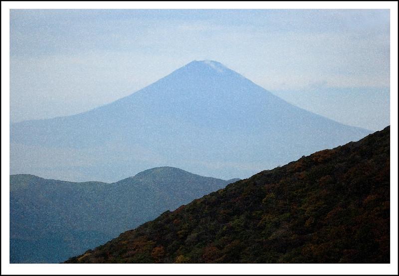 Mt. Fuji from the Komagatake gondola.  Watercolor filter