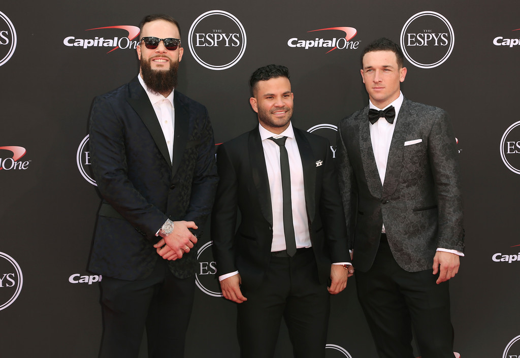 . Houston Astros\' Dallas Keuchel, Jose Altuve and Alex Bregman, from left, of the Huston Astros arrive at the ESPY Awards at the Microsoft Theater on Wednesday, July 18, 2018, in Los Angeles. (Photo by Willy Sanjuan/Invision/AP)
