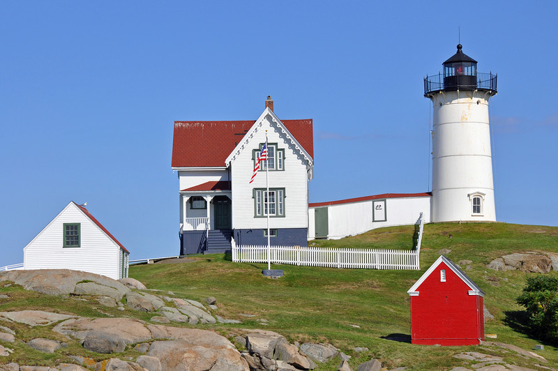 Nubble Light at York, Maine in the summer time.  Not a cloud in the sky!