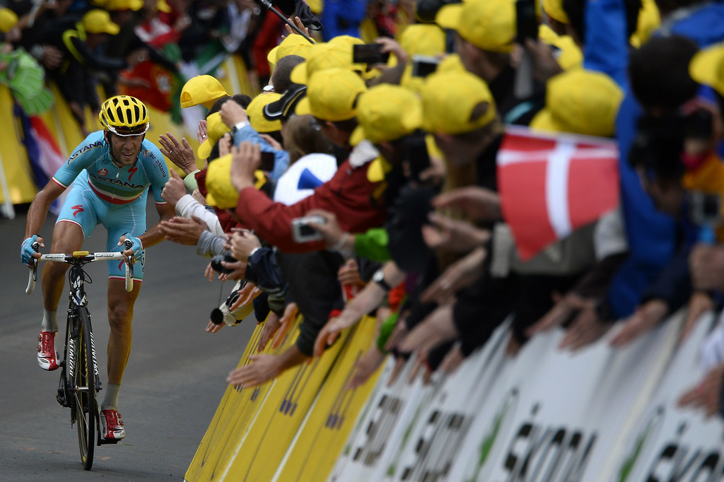 . Italy\'s Vincenzo Nibali rides in a breakaway during the 161.50 km tenth stage of the 101st edition of the Tour de France cycling race on July 14, 2014 between Mulhouse and La Planche des Belles Filles ski resort, eastern France.  AFP PHOTO / LIONEL BONAVENTURE/AFP/Getty Images