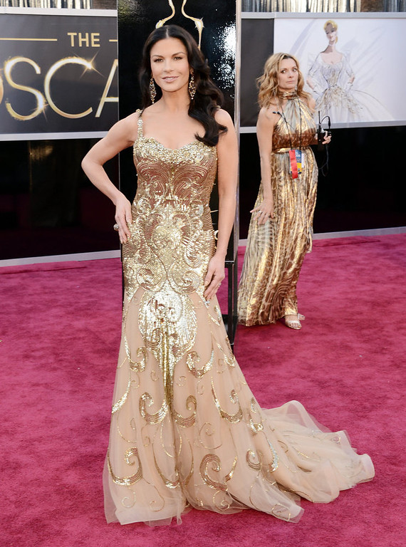. Actress Catherine Zeta-Jones arrives at the Oscars at Hollywood & Highland Center on February 24, 2013 in Hollywood, California.  (Photo by Jason Merritt/Getty Images)