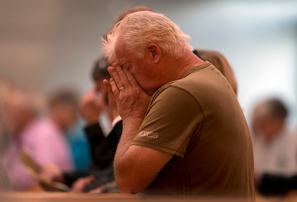 . Unidentified mourners attend a memorial Mass for the six people killed Tuesday in a balcony collapse in Berkeley on Wednesday, June 17, 2015, at the Cathedral of Christ the Light in Oakland, Calif. (D. Ross Cameron/Bay Area News Group)