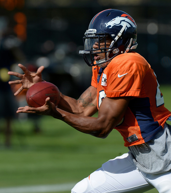 . Denver Broncos CB Aaron Hester (40) catches a pass in drills  during training camp August 6, 2013 at Dove Valley. (Photo By John Leyba/The Denver Post)